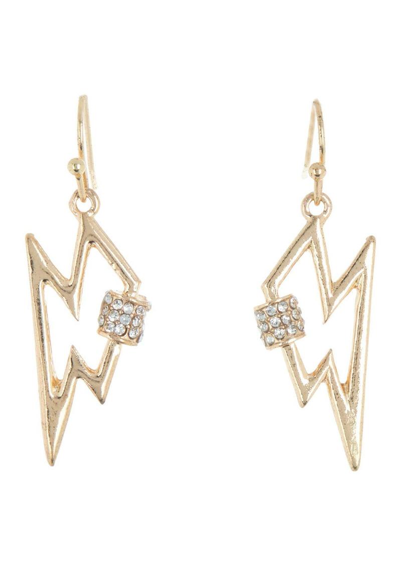 Area Mini Lightning Bolt Crystal Bling Earrings