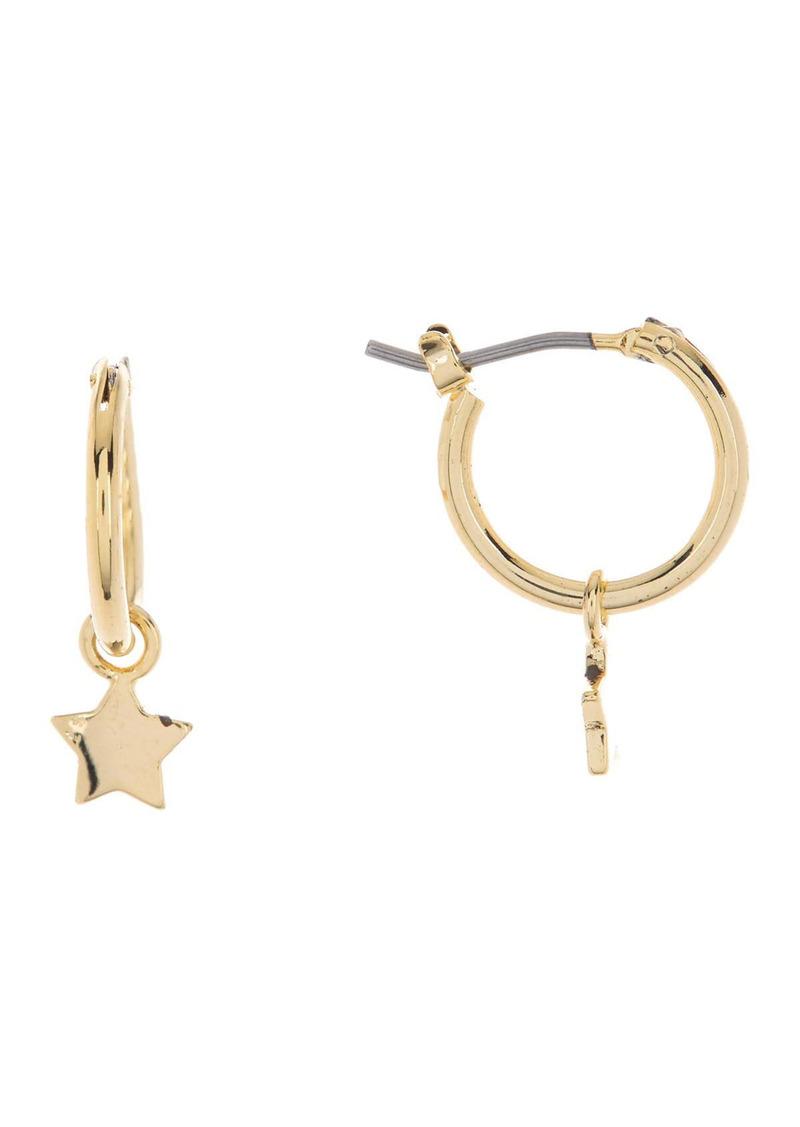 Area Mini Star Drop Huggie Hoop Earrings