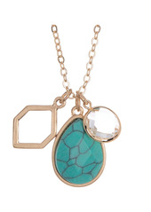 Area 14K Gold Plated Mixed Charm Teardrop Turquoise Pendant Necklace