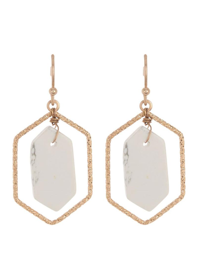 Area Mod 14K Gold Plated Hexagonal Stone Drop Earrings