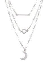 Area Moon, Bar Necklace Set - Set of 2