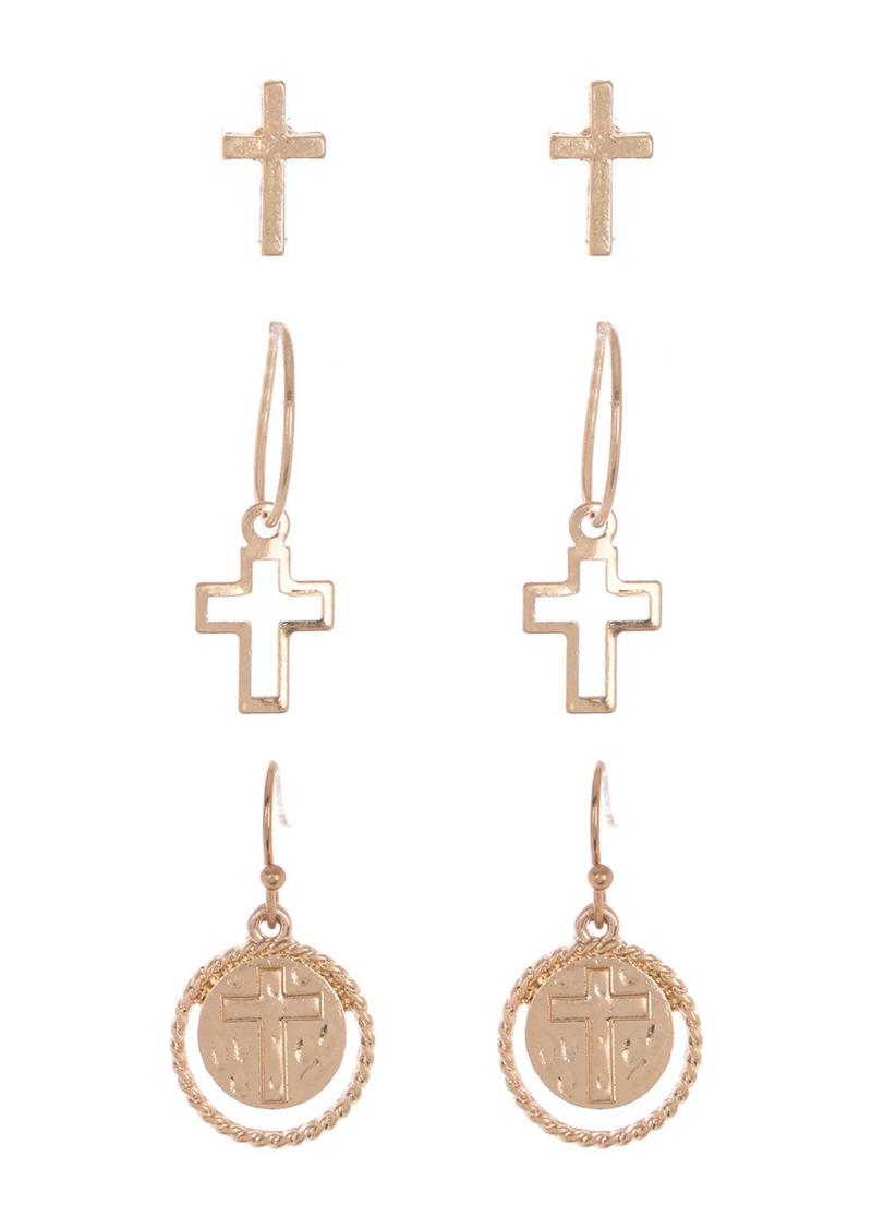 Area Multi Cross Earrings Set - Set of 3