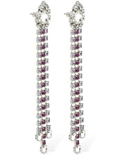 Area Multicolor Crystal Fringe Drop Earrings