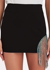 Area Ombré Crystal Fringe Mini Skirt