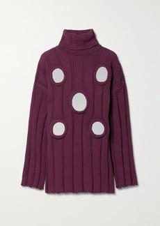 Area Oversized Embellished Ribbed Cotton-blend Turtleneck Sweater