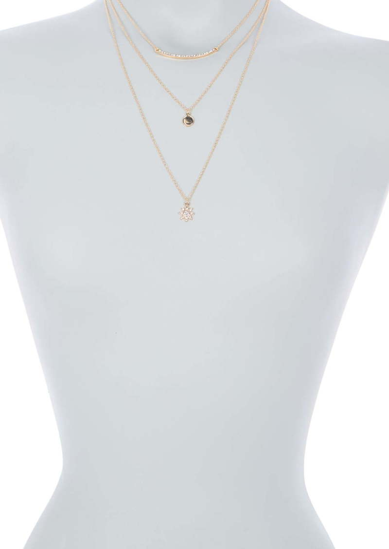 Area Pave Bar & Star Layered Necklace Set