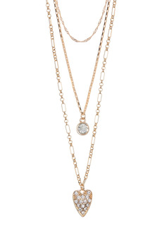 Area Pave Heart Layered Necklace Set