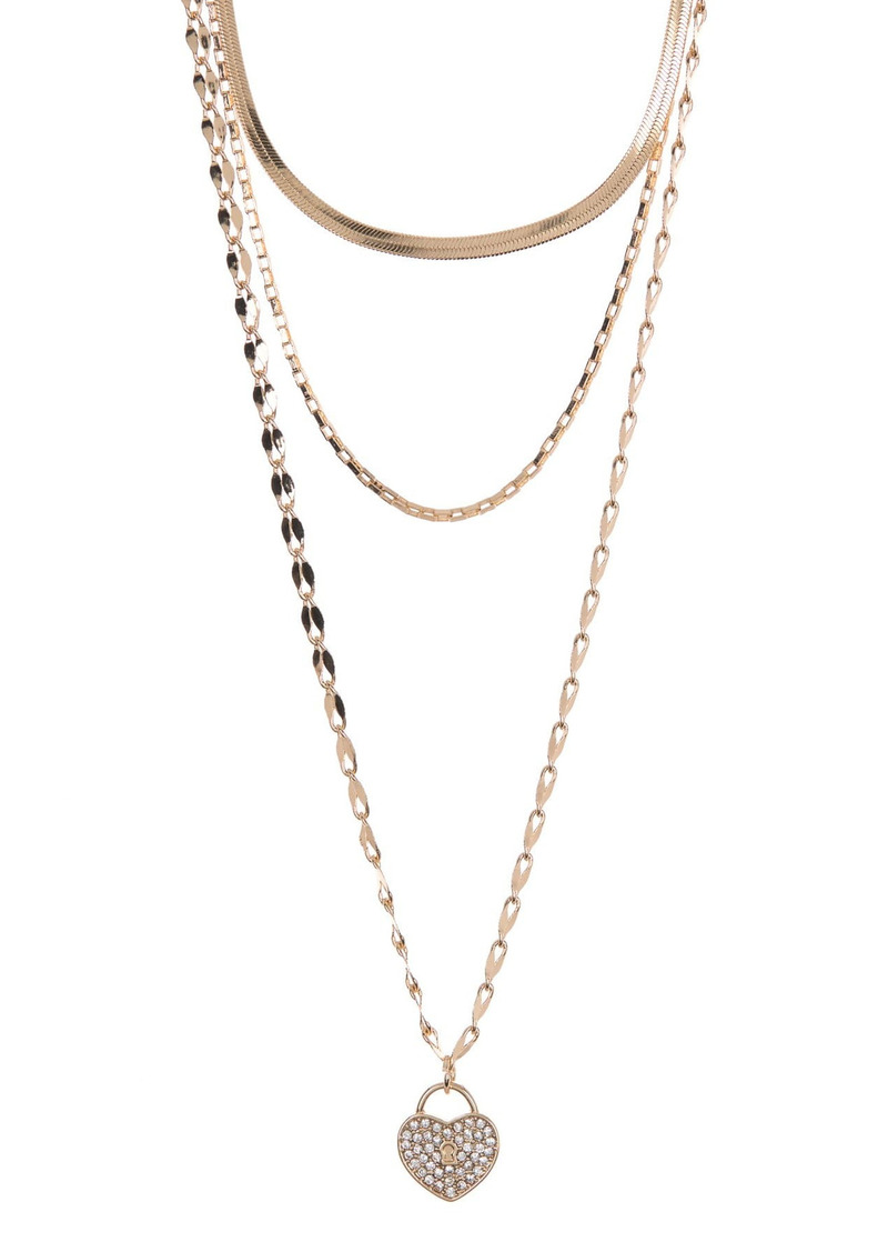 Area Pave Heart Lock Layered Necklace Set