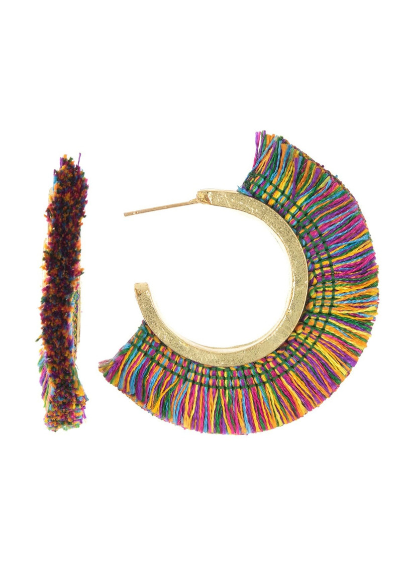 Area Rainbow Tassel Hoop Earrings