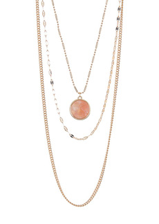 Area Round Pendant Layered Necklace Set