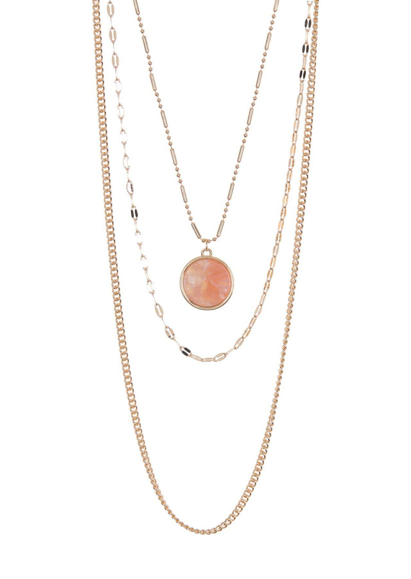 Area Round Pendant Layered Necklace Set