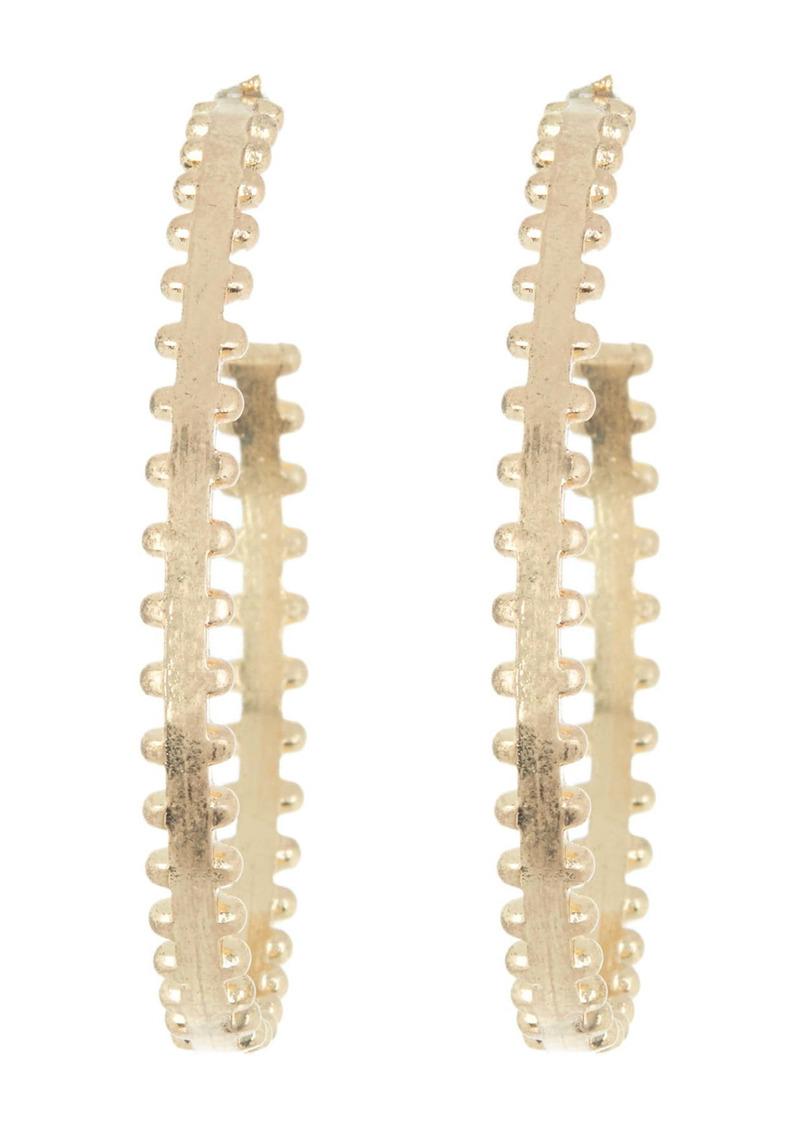 Area Scalloped Edge Open Hoop Earrings