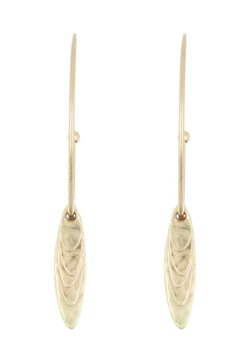Area Shell Dangle Open Hoop Earrings