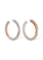 Area Stacked Crystal Big Hoop Earrings