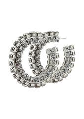 Area stacked crystal-embellished hoop earrings