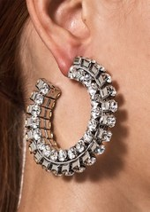 Area Stacked Crystal Hoop Earrings