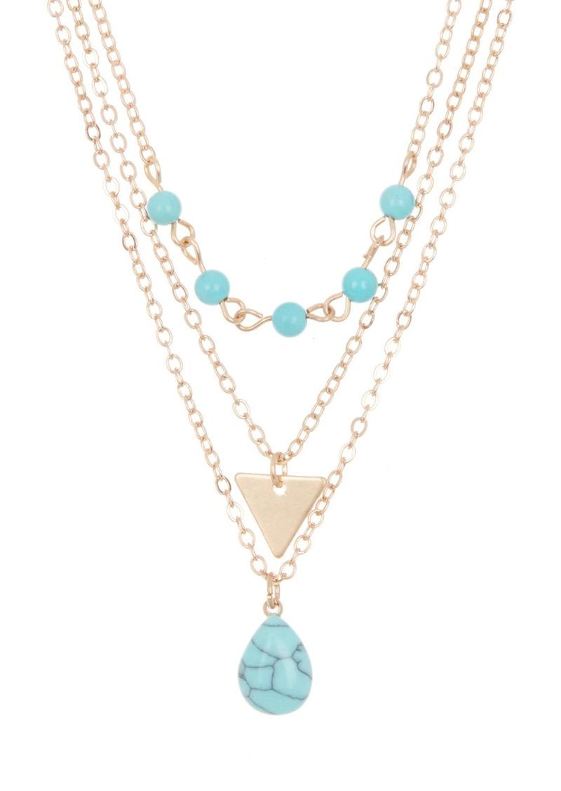 Area Turquoise Stone Necklace Set - Set of 3
