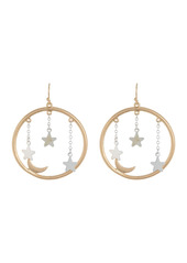 Area Two-Tone Celestial Circle Drop Earrings