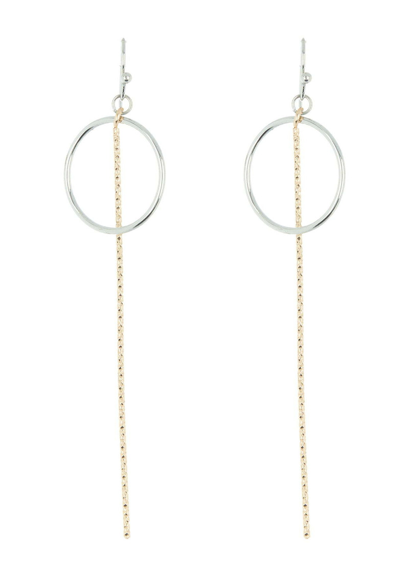 Area Two-Tone Circular Link Fringe Drop Earrings