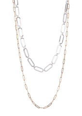 Area Two-Tone Layered Chain Link Necklace