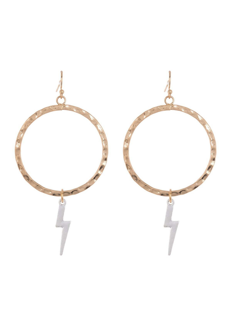Area Two-Tone Lightning Bolt Hammered Hoop Earrings