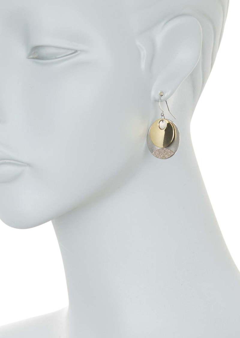 Area Two-Tone Mini Circular Shaped Drop Earrings