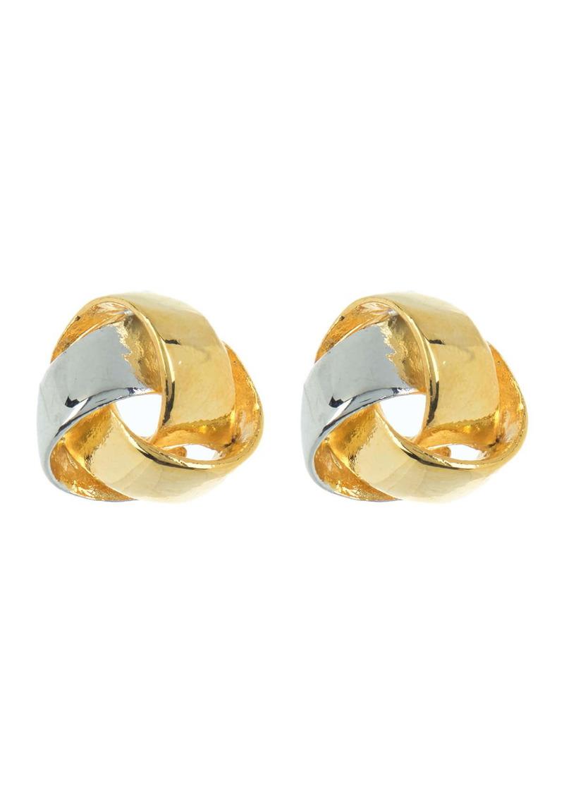 Area Two-Tone Mini Knot Stud Earrings