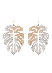Area Two Tone Palm Leaf Drop Earrings