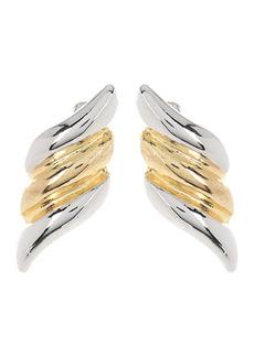 Area Two-Tone Wave Stud Earrings