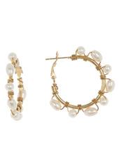 Area Wire Wrapped Faux Pearl Hoop Earrings