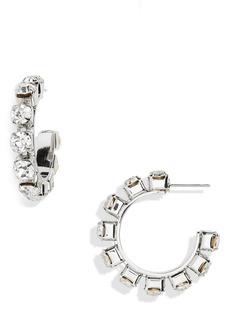 Women's Area Small Round Crystal Hoop Earrings