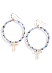 Women's Area Stars Beaded Cross Hoop Earrings