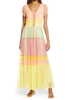 Women's Area Stars Rainbow Tiered Chiffon Maxi Dress