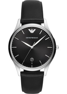 Emporio Armani Men's Black Leather Strap Watch 41mm