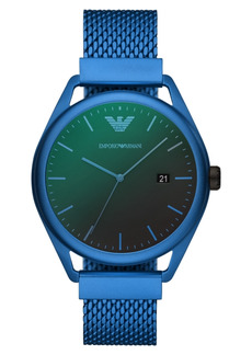 Emporio Armani Men's Blue Aluminum Mesh Bracelet Watch 43mm