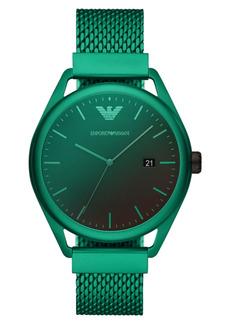 Emporio Armani Men's Green Aluminum Mesh Bracelet Watch 43mm