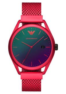 Emporio Armani Men's Red Aluminum Mesh Bracelet Watch 43mm