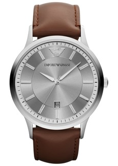Emporio Armani Watch, Men's Brown Leather Strap 43mm AR2463