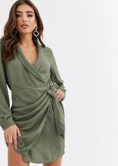 ASOS DESIGN collared wrap mini dress in khaki