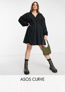 ASOS DESIGN Curve mini wrap shirt dress in black