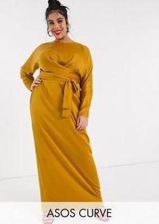 ASOS DESIGN Curve wrap waist batwing sleeve maxi dress