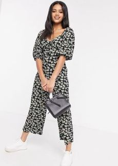 ASOS DESIGN jersey button front cupped tea culotte jumpsuit in dark based daisy