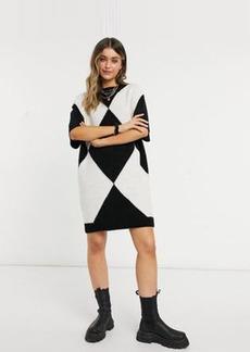 ASOS DESIGN knit mini vest dress with crew neck in argyle pattern