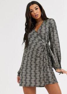 ASOS DESIGN Long sleeve sparkle wrap mini dress