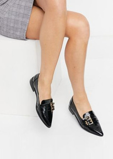 ASOS DESIGN Mae pointed loafers with buckle in black