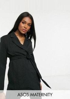 ASOS DESIGN Maternity jersey wrap suit blazer in black