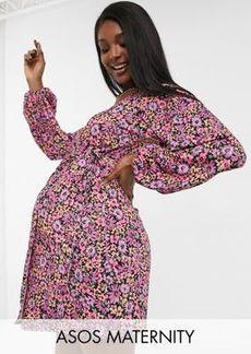 ASOS DESIGN Maternity long sleeve wrap midi dress in pink floral print