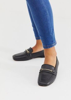 ASOS DESIGN Mocha square toe leather loafers in black
