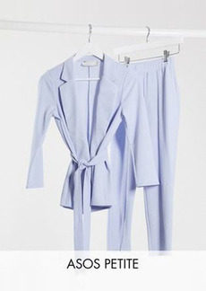 ASOS DESIGN Petite jersey wrap suit blazer in pale blue
