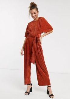 ASOS DESIGN plisse tie front culotte jumpsuit